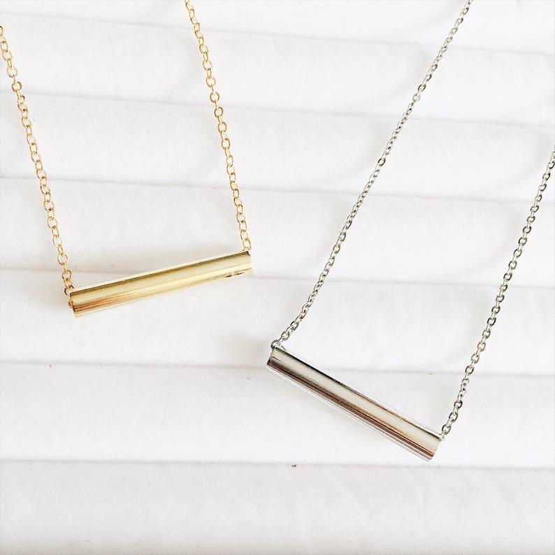00aff5b5f8b759 Silver Chunky Bar Layering Necklace Gold Boho Choker Jewelry | Etsy