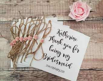 Thank you for being my bridesmaid cards,Thank you cards,Bridesmaid card,Maid of honour card