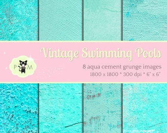 Vintage Swimming Pool Digital Paper Pack Scrapbooking Tiffany Blue Robins Egg Plaster Grunge Antique Aqua Cement Concrete Turquoise Stucco