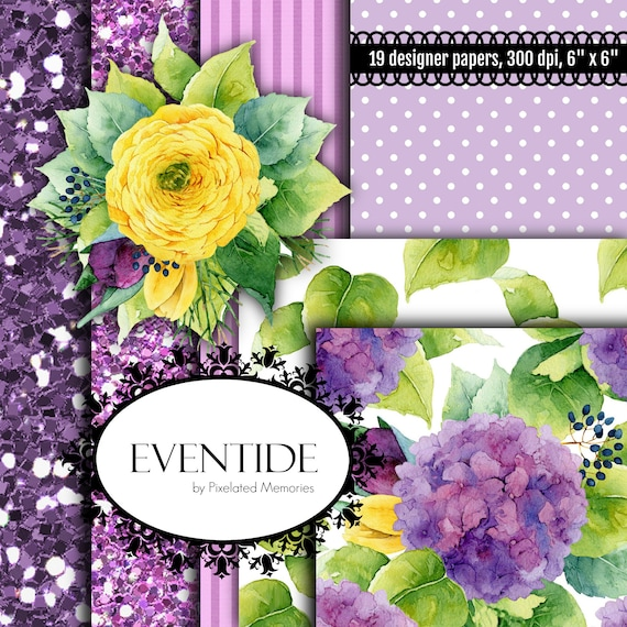 Eventide Purple Hydrangeas Yellow Roses Green Leaves Polka Etsy