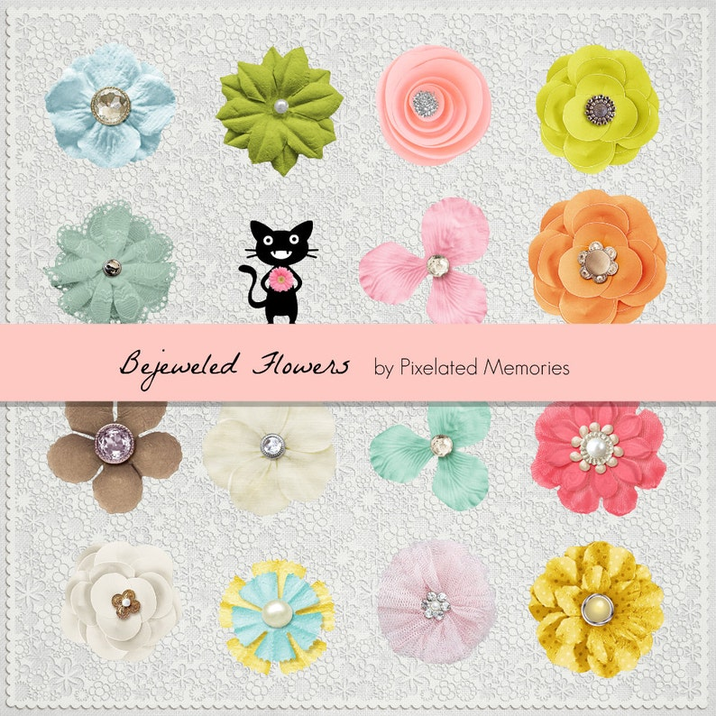 Bejeweled Flowers Digital Design Scrapbooking Elements Floral Fabric Jewels  Springtime Pastel Colors Alpha  png files Embellishments