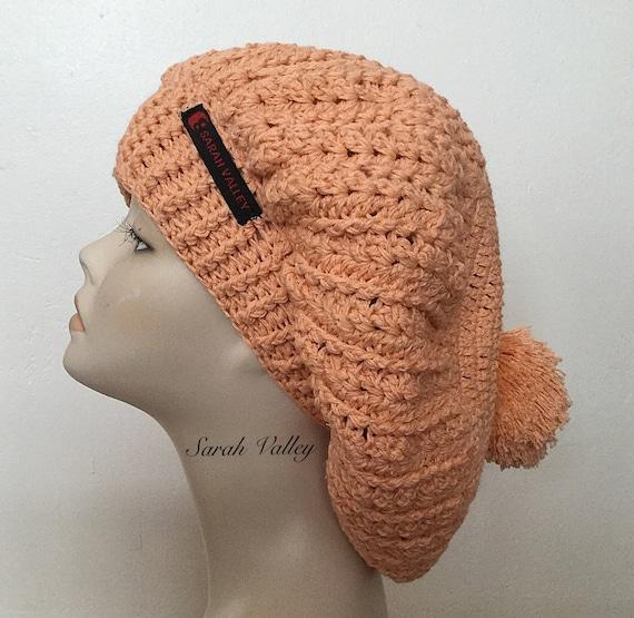 2e456d3cd0467 Handmade knit beret orange slouchy hat pom pom beret cotton