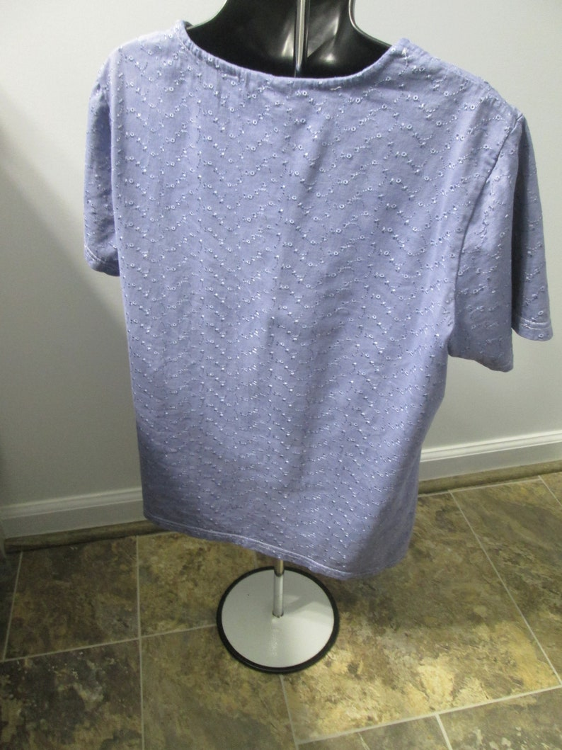 violet 90/% cotton pre-washed Blouse L colorfast. 10 percent rayon upcycled blouseeasy care Ladies eyelet dyed Indigo