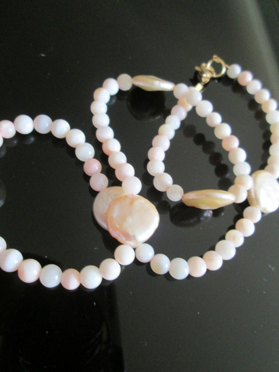 16 in Pearls for love. Wedding Mother of pearl beads Genuine cultured PEARL COINS Fine Pearl jewelry necklace Handmade for Baptism