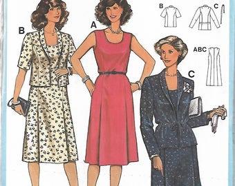 Sewing pattern - dress Pattern  - vintage pattern - size 14.5 -26.5 - dual size - jacket pattern - Uncut -  1980s sewing pattern