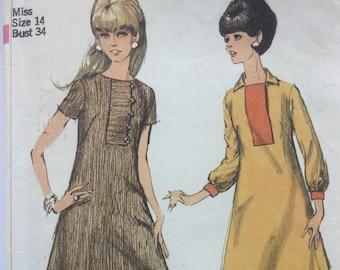 "Sewing pattern - dress pattern - Simplicity - retro dress pattern -  shift dress, Size 14, Bust 32"" - easy dress pattern"