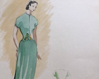 Fashion illustration - Woman in Evening Dress - Fashion prints - fashion sketches - Fashion poster