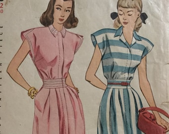 Vintage Sewing Pattern -1940s Dress Pattern - Simplicity - Bust 30ins,Waist 25 ins, Hips 33 ins, Cut, Womens Sewing Pattern