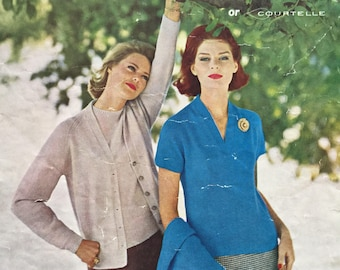 knitting pattern Lady's Cardigan or classic twinset - original pattern, Size bust 34/40""