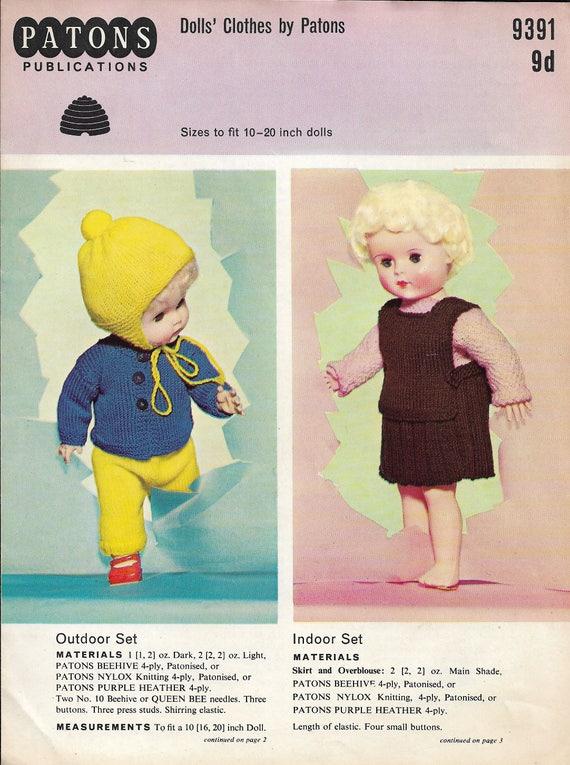 Vintage Puppe Kleidung Original Stricken Muster Patons Outdoor