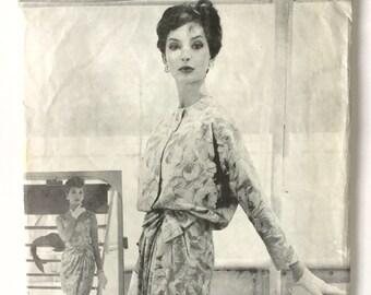 Vogue Paris Original Sewing Pattern - Nina Ricci - 1950s dress pattern with jacket- Bust 34, Factory Folded