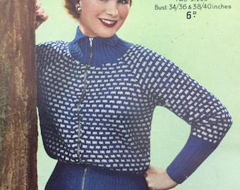 knitting pattern Lady's Cardigan - original pattern, 1950s cardigan pattern from Sirdar, Bust 34-40""