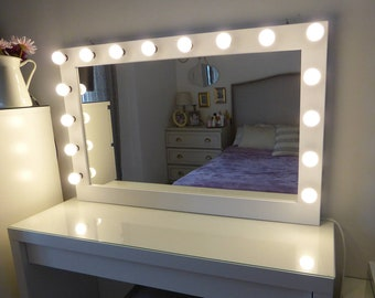 """SUPER Sale - XXL vanity mirror- 43""""x27""""- Hollywood makeup mirror with lights- Perfect for Ikea Malm vanity -Bulbs not included"""