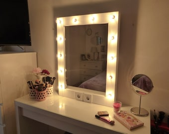 Makeup Mirror With Lights   Vanity Mirror   Hollywood Mirror Wall Hanging  Or Self Standing   Miroire Maquilleuse   Ηandmade To Order