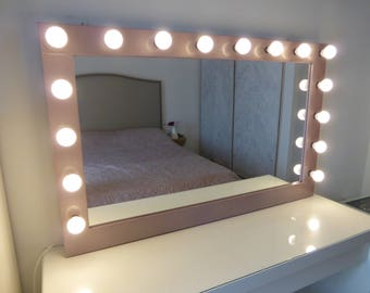 Hollywood lighted vanity mirror large makeup mirror with etsy xl hollywood mirror 43 x 27 rose gold vanity mirror with lights wall hangingfree standing bulbs not included aloadofball Image collections