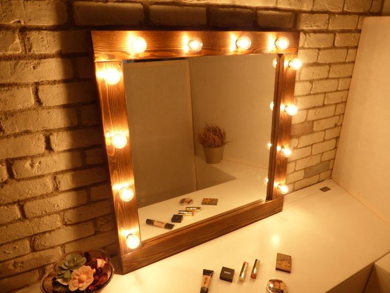 Hollywood Mirror With Lights Rustic Mirror Makeup Mirror Bathroom Mirror Wooden Mirror Farmhouse Decor Bulbs Not Included