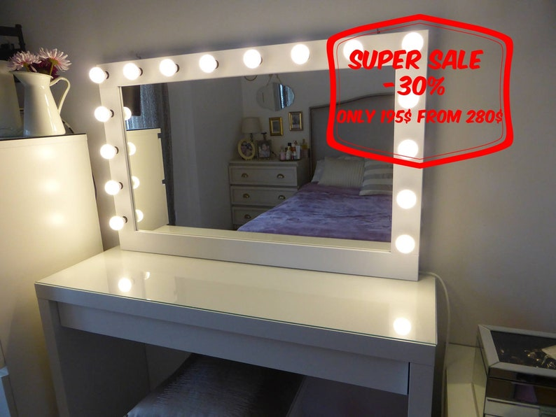 Makeup Mirror.Super Sale Xl Hollywood Vanity Mirror 43 X27 Makeup Mirror With Lights Perfect For Ikea Malm Vanity Bulbs Not Included