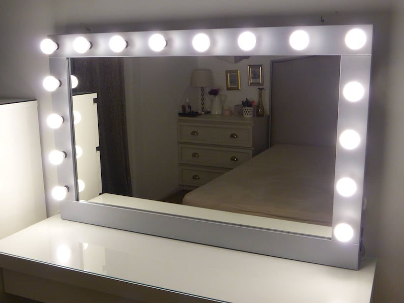 Vanity Mirror.Xl Hollywood Vanity Mirror 43 X 27 Makeup Mirror With Lights Wall Hanging Free Standing Perfect For Ikea Malm Vanity Bulbs Not Included