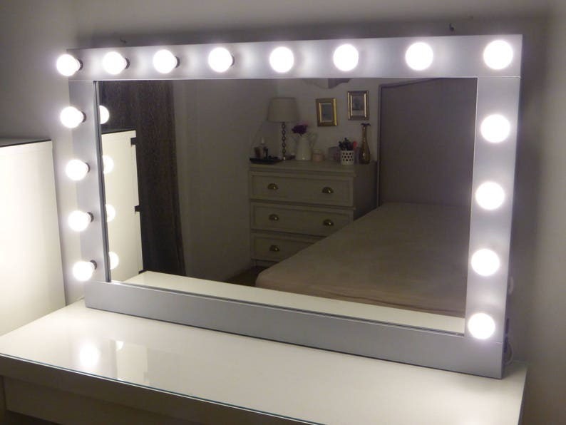 Delicieux XL Hollywood Vanity Mirror  43 X 27u0027u0027  Makeup Mirror With Lights Wall  Hanging/free Standing Perfect For IKEA Malm Vanity  BULBS Not Included