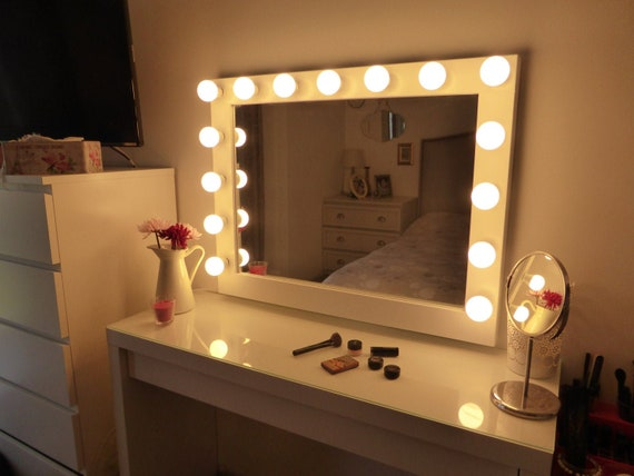 SUPER sale - XL Hollywood lighted vanity mirror-makeup mirror with lights-  Perfect for Ikea malm vanity -Bulbs not included