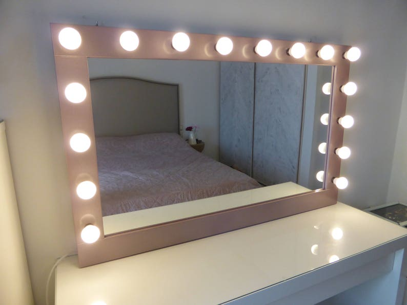 Xl Hollywood Mirror 43 X 27 Rose Gold Etsy