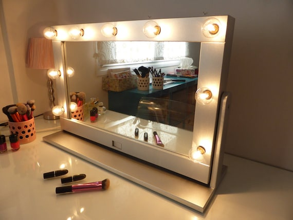 Vanity Mirror With Lights And Stand Tilted Hollywood Mirror Etsy