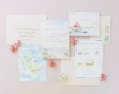 Chesapeake Bay Wedding - Custom Wedding Invitations - Invitation Suite - Watercolor Invites - Beach Wedding - Maryland