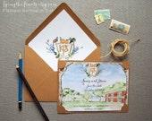 Watercolor Save the Dates - Texas Wedding - Venue painting - Custom Save the Date - Custom Wedding Crest