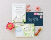 Beverly Hills Wedding - Custom Wedding Invitations - Quail Ranch Invitation Suite - Watercolor Invites  - California Wedding