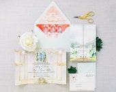 Wedding Invitation Suite - Watercolor Invitations - Greenbrier Resort Wedding - Golf Course Wedding - Resort Wedding