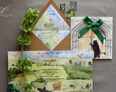 Custom Watercolor Invitations - Gatefold Invitation - Yorkshire Dales England Wedding - Castle Wedding - Tri Fold Invite - Wedding Animals