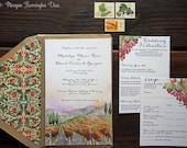 Vineyard Wedding Invitations - Custom Watercolor Invitation Suite - Winery Invites - Florentine Design - Viansa Winery Wedding