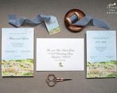Custom Wedding Invitations - The Olmaya Wedding - Jerusalem Invitations - Hebrew Wedding Invitation - Watercolor suite