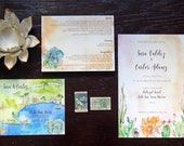 Cabo San Lucas Wedding - Custom Wedding Invitations - Invitation Suite - Watercolor Invites  - Mexico Wedding - Beach Wedding