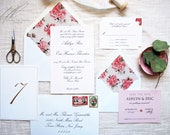 Hand Painted Wedding Invitations - Floral Wedding Invites - Formal Wedding Suite - Peony Flower Invitation Set