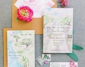 California Wedding - Custom Wedding Invitations - Invitation Suite - Watercolor Invites  - Holman Ranch Wedding - Carmel Valley Wedding