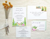 Mexico Wedding Invitations - Watercolor Succulents Wedding Suite - Hand Painted Southwest Wedding Invitations
