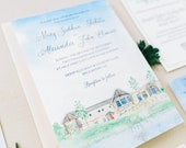 Watercolor Wedding Invitations - Custom Venue Illustration - Hand Painted Invitations - Deerfield Golf and Country Club - Wedding Suite