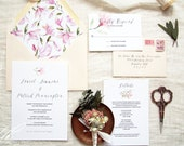 Watercolor Wedding Invitation Suite - Spring Wedding invites - Summer Wedding Invites - Magnolia Invitation Suite - Hand painted invitations