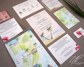 Custom Wedding Invitation Suite - Belize Wedding Invitations - Turtle Inn Belize - Watercolor Invites - Tropical Wedding