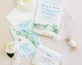 Florida Beach Wedding - Custom Wedding Invitations - Invitation Suite - Watercolor Invites - Beach Wedding - Anna Maria Island