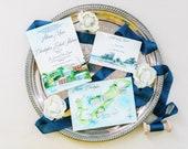 Custom Wedding Invitation Set - Bermuda Wedding Invitations - Hand Painted invitations - Watercolor wedding suite - The Loren at Pink Beach