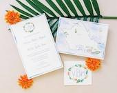 Hawaii Wedding Invitations - Honolulu Wedding Suite - Custom Wedding Invitations - Custom Watercolor Invite Set - Oahu Wedding