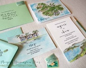 Custom Wedding Invitations - Antigua wedding invites - Watercolor Invitation Suite - Custom Invites - Destination Wedding