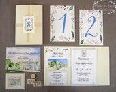 Formal Wedding Suite - Watercolor Wedding Invitations - Charleston Wedding - Lowndes Grove - Complete Wedding Suite - Plantation Wedding