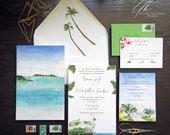 Custom Wedding Invitations - Ocean Reef Club Wedding Invite - Key Largo Wedding - Oceanfront wedding suite - Palm Invitation