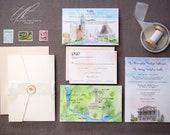 Pocketfold Invitations - Watercolor Wedding Invitations - Custom Wedding Suite - Austin TX Wedding - Custom Wedding Map