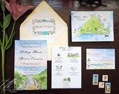 Martha's Vineyard Wedding Invitations - Custom Wedding Map - Edgartown Wedding - Beach Wedding Invitations - Wedding Weekend Itinerary