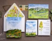 Vail Colorado Wedding Invitations - Vail Watercolor Wedding Suite - Sonnenalp Wedding - Autumn Wedding Invite - Custom Wedding Map