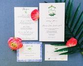 Tulum Mexico Wedding Invitations - Custom Wedding Invitations - Watercolor Wedding Suite - Palm Wedding motif